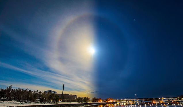 Sun and Moon Align to Create Stunning Two-Faced Ice Halo