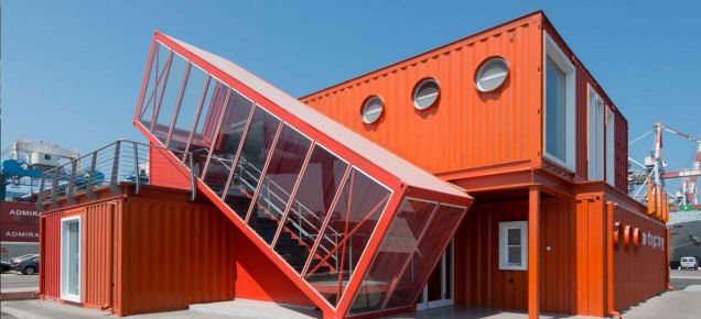 Shipping Container Offices Are Right at Home On an Industrial Seafront