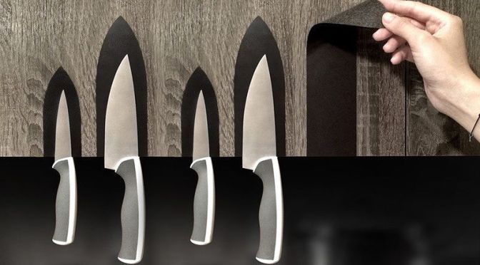 Clever Magnetic Stickers Turn Any Flat Surface Into a Knife Holder