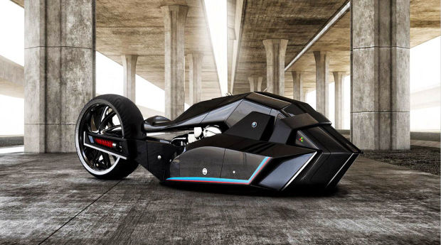 THE BMW TITAN MOTORCYCLE LOOKS LIKE IT BELONGS IN THE BATCAVE
