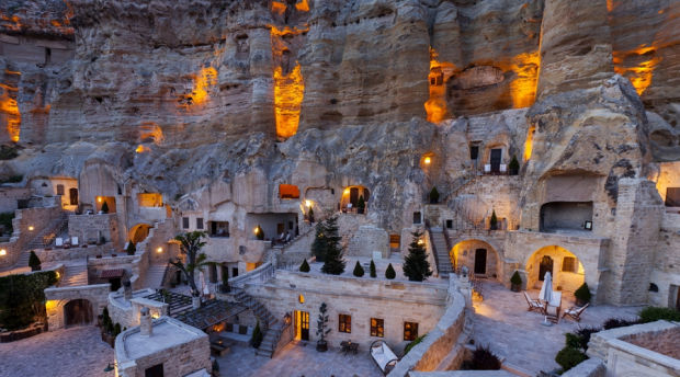 THIS JAW-DROPPING TURKISH CAVE HOTEL IS CARVED RIGHT INTO A GIANT CLIFF
