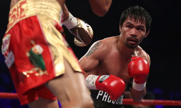 MANNY PACQUIAO WINS WBO WELTERWEIGHT TITLE WITH FLOYD MAYWEATHER AT RINGSIDE