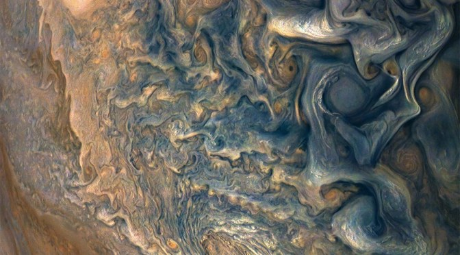 JUNO SNATCHES A SHOT OF JUPITER'S SWIRLING STORMS
