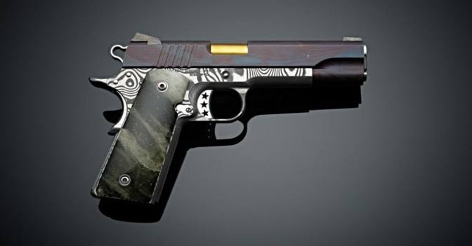THIS CUSTOM HANDGUN IS MADE FROM A 4.5 BILLION-YEAR-OLD METEORITE AND DAMASCUS STEEL