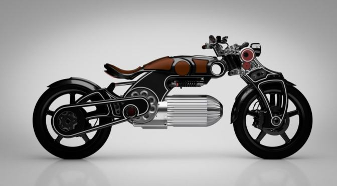 PISTOL-INSPIRED CURTISS ELECTRIC MOTORCYCLE PACKS A BULLET-SHAPED BATTERY